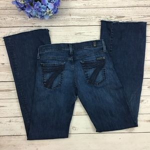 7 For All Mankind Dojo Flare Jeans Raw Hems